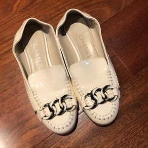 Chanel white flats leather with sole protection